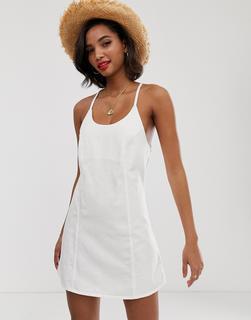 ASOS DESIGN - Denim-Sommerkleid in Weiß mit Schnürung hinten - 9.36 €