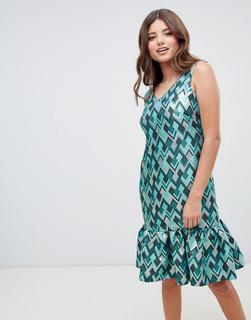 Closet London - Gefüttertes Kleid mit Rüschensaum - Mehrfarbig