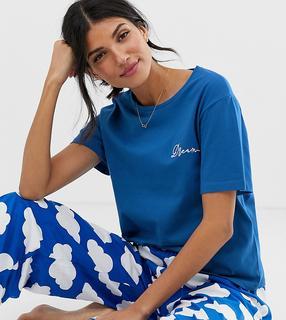 ASOS Tall - ASOS DESIGN Tall - Mix-and-Match - Pyjama aus Jersey mit Wolken bedrucktem T-Shirt und 'Dream'-Stickerei - Blau