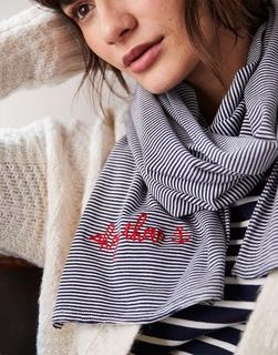 Joules Clothing - Navy Stripe Coast Striped Embroidered Scarf  Size One Size