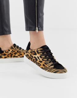 ASOS DESIGN - Dove lace up trainers in leopard mix