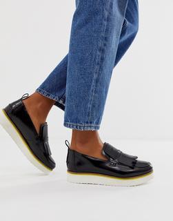 ASOS DESIGN - Mimi leather flatform loafers in black