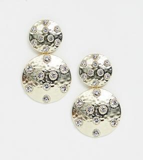 Glamorous - chunky gold drop earrings with rhinestone