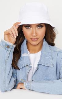 PrettyLittleThing - White Plain Bucket Hat, White