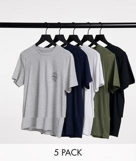 Jack & Jones - Core – 5er-Pack mehrfarbiger T-Shirts mit geprägtem Logo