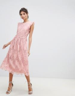 Little Mistress - frill edge sleeves and scallop hem with lace rose detail midi prom dress