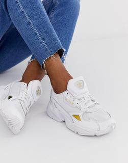 adidas Originals - Falcon trainers in white and gold