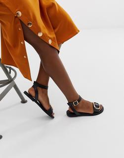 ASOS DESIGN - Flora flat sandals in black