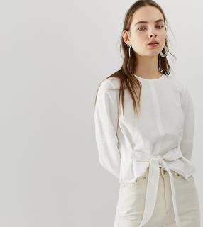 MANGO - tie front blouse in white