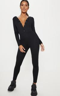 PrettyLittleThing - Black Fine Rib Button Up Long Sleeve Jumpsuit, Black