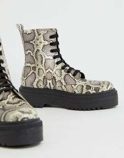 ASOS DESIGN - Attitude chunky lace up boots in snake