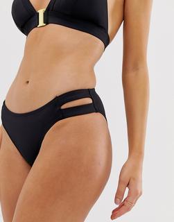 Dorina - Casablanca - Seitlich geschlitzter Bikiniunterteil in Schwarz - Schwarz