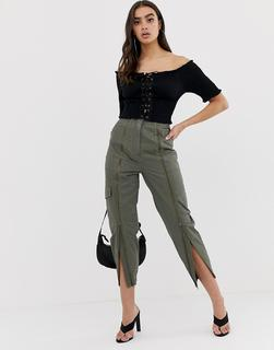 ASOS DESIGN - high waist zip front combat trouser