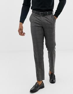 Harry Brown - grey check slim fit suit trouser