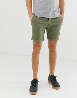 ASOS DESIGN - Schmale Chino-Shorts in hellem Khaki - Grün