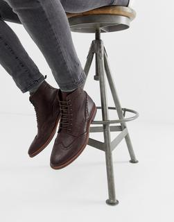 ASOS DESIGN - lace up brogue boots in brown leather with natural sole