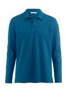 hessnatur - Herren Langarm Poloshirt aus Leinen mit Bio-Baumwolle – blau – Größe 52