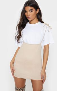 PrettyLittleThing - Stone Tie Shoulder Jersey Pinafore Dress, White