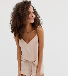 ASOS DESIGN - Kontrastierendes Satin-Camisole-und-Shorts-Set als Pyjama - Rosa