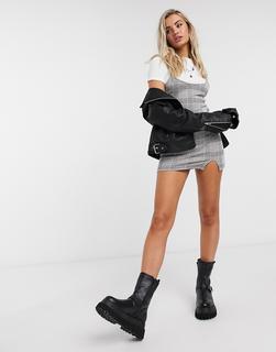 Office - Aida - Fester Ankle-Boot mit Absatz und silberfarbenem Reißverschluss aus schwarzem Wildleder - Schwarz