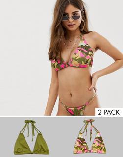 ASOS DESIGN - Triangel-Bikinioberteil für die vollere Brust mit khaki- und rosafarbenem Military-Muster, Multipack, E-G - Mehrfarbig