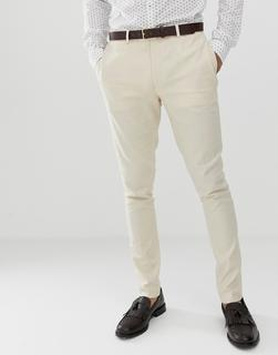 ASOS DESIGN - wedding super skinny suit trousers in stone linen