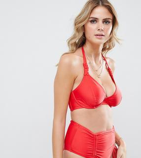 Wolf & Whistle - Exklusives rotes Neckholder-Bikinioberteil mit Bügeln und Raffung - Rot