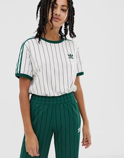adidas Originals - T-Shirt in Weiß und Grün gestreift - Grün