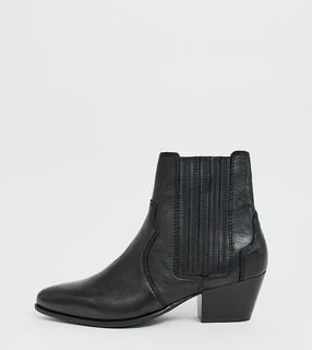 MANGO - leather western Chelsea boot in black