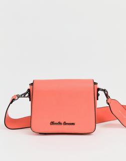 Claudia Canova - Umhängetasche mit breitem Kontrastträger - Orange