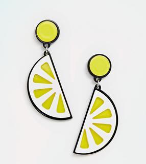 South Beach - Harzohrringe mit Zitronenscheibendesign - Gelb