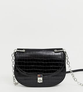 Stradivarius - moc croc cross body with chain in black