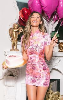 PrettyLittleThing - Pink Oriental Jacquard Bodycon Dress, Pink