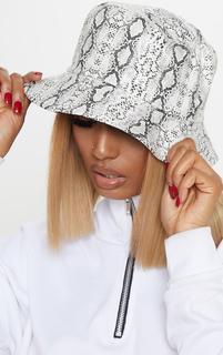 PrettyLittleThing - Grey Snake Bucket Hat, Grey