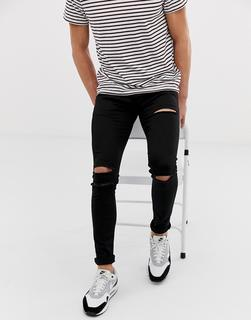 SOULSTAR - skinny fit DEO ripped jeans in black