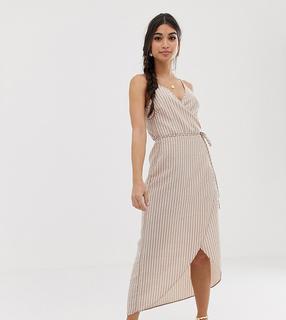 ASOS Petite - ASOS DESIGN Petite cami wrap maxi dress in seersucker stripe