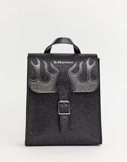 DR. MARTENS - Kleiner Rucksack mit Flammendesign in Schwarz-glitzernd - Schwarz