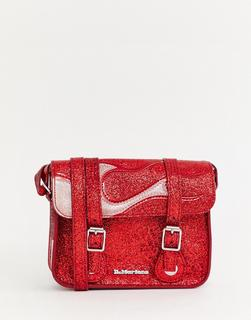 DR. MARTENS - red glitter flame 7inch satchel