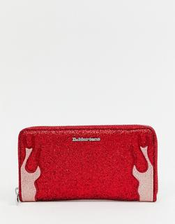 DR. MARTENS - red glitter flames purse