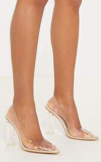 PrettyLittleThing - Nude Block Heel Clear Court, Pink