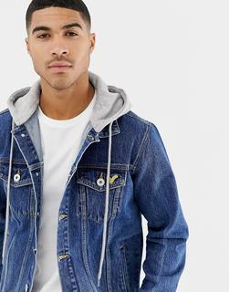 Voi Jeans - Denim Jacket With Hood In Mid Blue