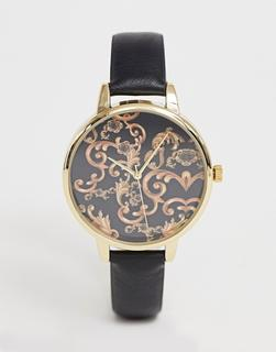 ASOS DESIGN - watch with vintage style baroque print with black strap