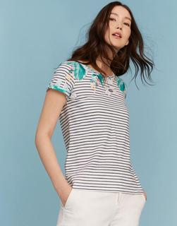 Joules Clothing - Palm Stripe Nessa Print Jersey T-Shirt  Size 20