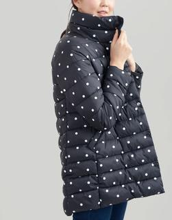 Joules Clothing - Navy Spot Wroxham Print Large Collar Reversible Padded Coat  Size 12