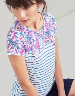 Joules Clothing - Blue Stripe Floral Border Nessa Print Lightweight Jersey T-Shirt  Size 14