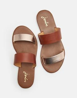 Joules Clothing - Rose Gold Fenthorpe Two Strap Leather Sandals  Size Adult Size 4