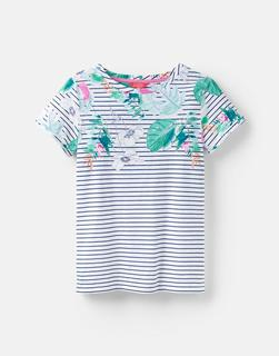 Joules Clothing - Palm Stripe 204531 Printed Lightweight Jersey T-Shirt  Size 16