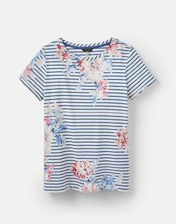 Joules Clothing - Navy Whitstable Floral Stripe 204531 Printed Lightweight Jersey T-Shirt  Size 10