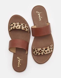 Joules Clothing - Leopard Fenthorpe Two Strap Leather Sandals  Size Adult Size 4