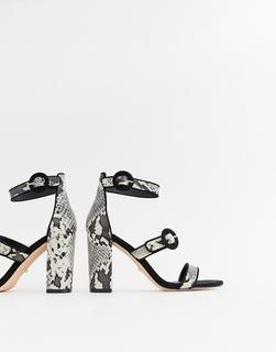 Faith - Dellar snake print block heeled sandals